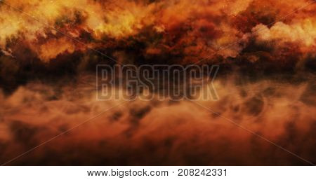 Mist Above The Ground And Burning Sky Full Of Clouds And Stars. Halloween Concept Background 3D Illu