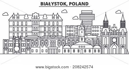 Poland, Bialystok architecture line skyline illustration. Linear vector cityscape with famous landmarks, city sights, design icons. Editable strokes