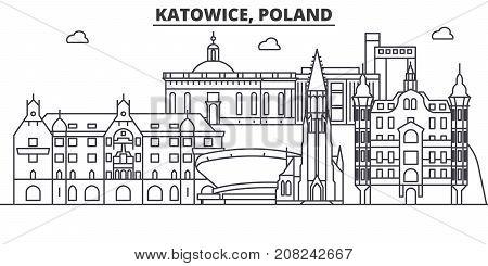 Poland, Katowice architecture line skyline illustration. Linear vector cityscape with famous landmarks, city sights, design icons. Editable strokes