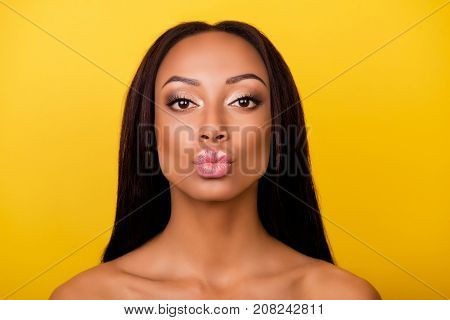 Pampering, Lips Correction, Dermatology, Dream, Healthcare Concept. Cose Up Cropped Photo Of Afro Go