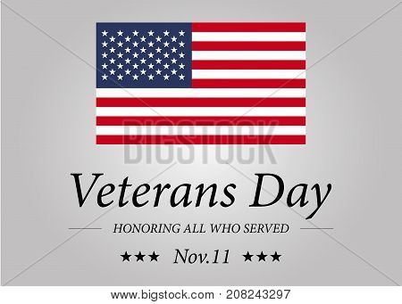 Happy Veterans Day with USA flag illustration. November 11th. Celebration poster with stars and stripes. Greeting card.