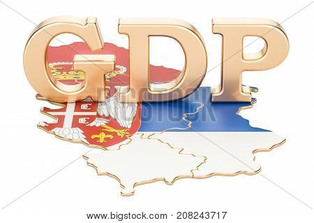 gross domestic product GDP of Serbia concept 3D rendering isolated on white background