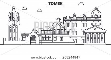 Russia, Tomsk architecture line skyline illustration. Linear vector cityscape with famous landmarks, city sights, design icons. Editable strokes