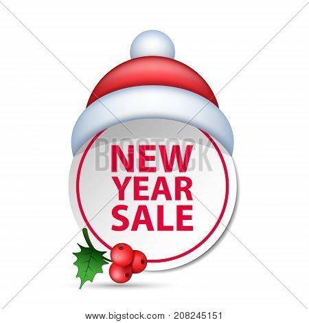 Christmas new year sale badge label with santa hat vector isolated illustration.