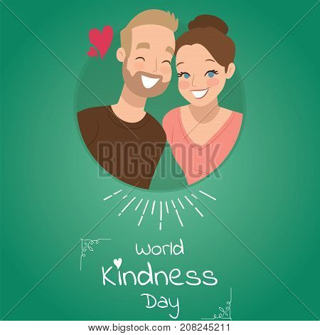 World Kindness Day, 13 November. Happy man and woman conceptual illustration vector.