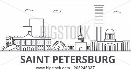 Sankt Petersburg architecture line skyline illustration. Linear vector cityscape with famous landmarks, city sights, design icons. Editable strokes
