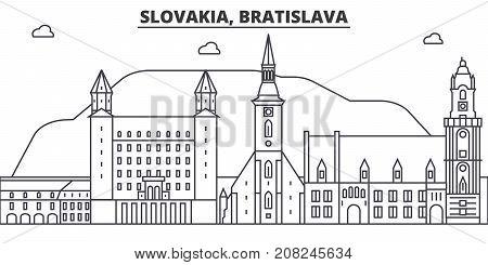 Slovakia, Bratislava architecture line skyline illustration. Linear vector cityscape with famous landmarks, city sights, design icons. Editable strokes