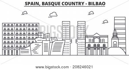 Spain, Bilbao, Basque Country architecture line skyline illustration. Linear vector cityscape with famous landmarks, city sights, design icons. Editable strokes