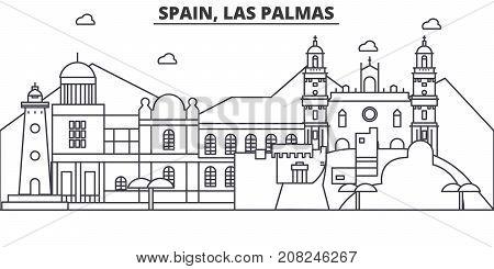 Spain, Las Palmas architecture line skyline illustration. Linear vector cityscape with famous landmarks, city sights, design icons. Editable strokes