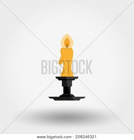 Candle in candlestick. Icon for web and mobile application. Vector illustration on a white background. Flat design style