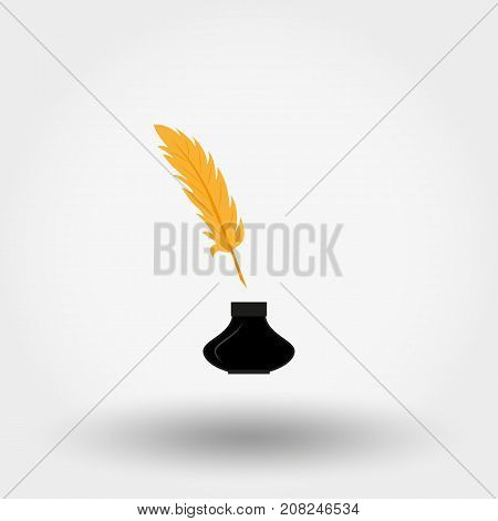 Inkwell and feather. Icon for web and mobile application. Vector illustration on a white background. Flat design style