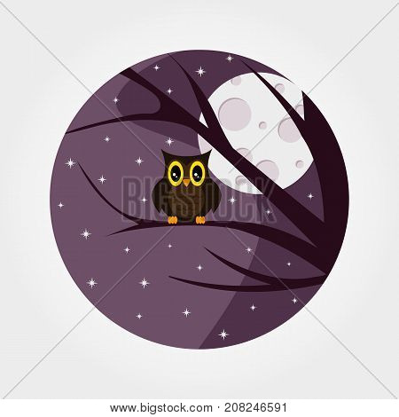 Halloween. Owl with large eyes sitting on a branch against a full moon and starry night sky. Icon for web and mobile application. Logotype. Badge. Vector illustration on a white background. Flat design style.