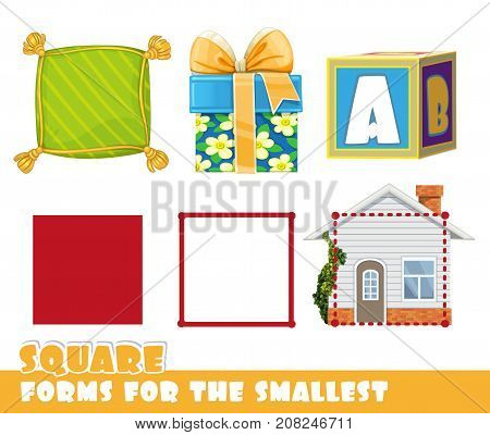 Forms For The Smallest. Square And Objects Having A Square Shape On A White Background Developing Ga