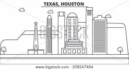 Texas, Houston architecture line skyline illustration. Linear vector cityscape with famous landmarks, city sights, design icons. Editable strokes