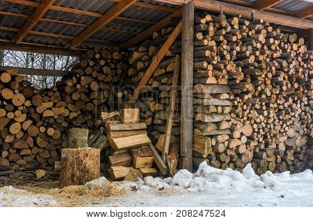 Woodshed Full Of Chopped Firewood In Winter
