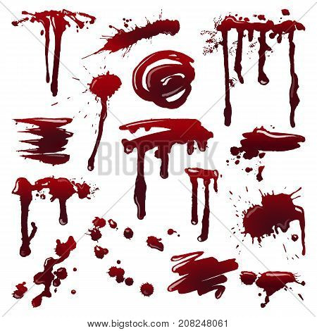 Blood splatters on isolated background. Set of dripping blood drops and trail. Set of smears, splashes, drippings. Paint splatters Halloween concept. Abstract vector illustration, design elements.