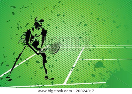 tennis vector illustration (silhouette of a girl on green background)