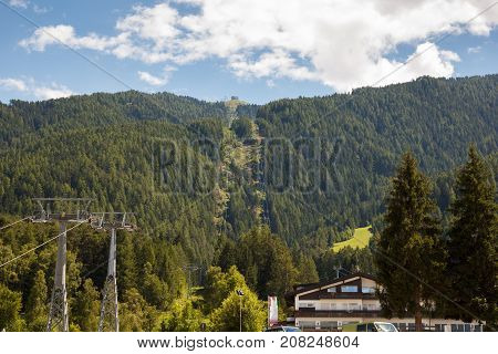Kronplatz in South Tyrol Italy , cableway to peak