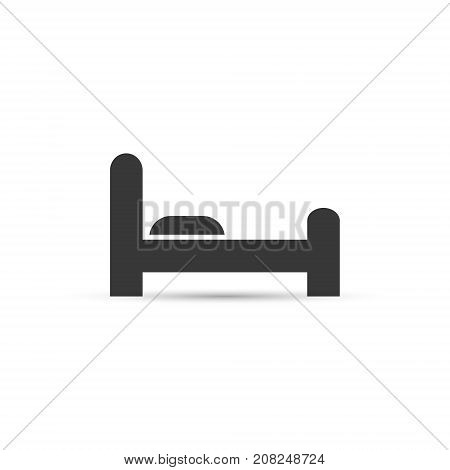 Black hotel icon. Flat bed illustration. Bed simple sign with shadow. Vector isolated object.