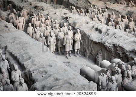 Xian, China - October 4, 2017: Terracotta Army Archaeological Site. Three Pits Contain More Than 800
