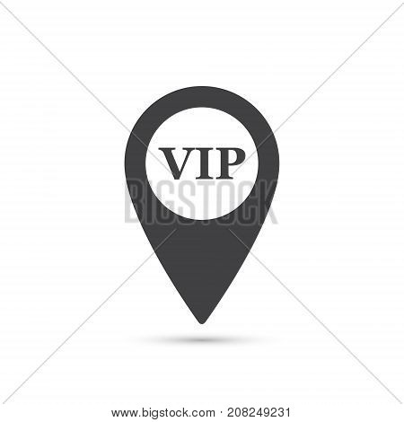 Simple map pointer with symbol vip. For location map. Mark icon. Sign for navigation. Index location on map. Pointer location. Vector isolated illustration.