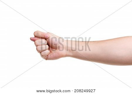 An insulting sign. Fig. Gesture male hand, isolated on white background. Close-up.