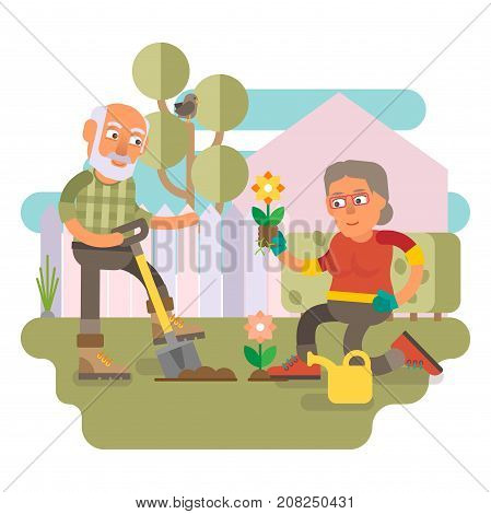 50 plus couple gardening together in their backyard garden and spending time together outdoor