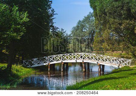 Rural Russian summer landscape with old wooden bridge. Mikhaylovskoye Pushkinogorsky District of Pskov Oblast Russia poster