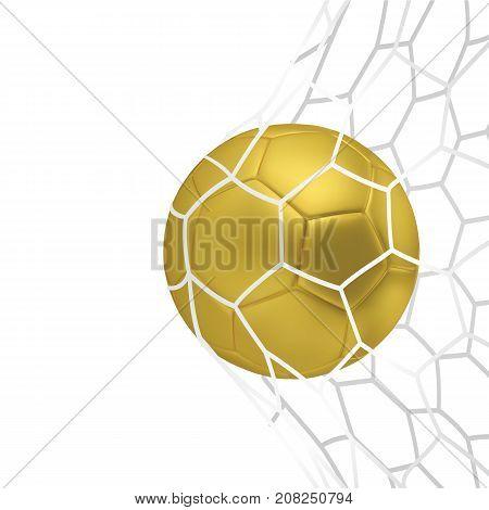 Vector golden Realistic soccer ball or football ball in neton white background. 3d Style vector Ball