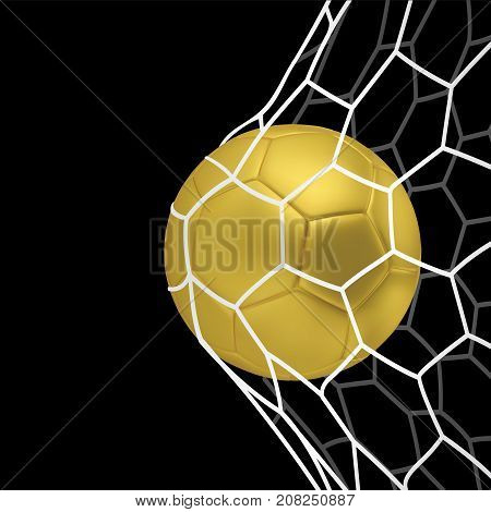 Vector golden Realistic soccer ball or football ball in net on black background. 3d Style vector Ball
