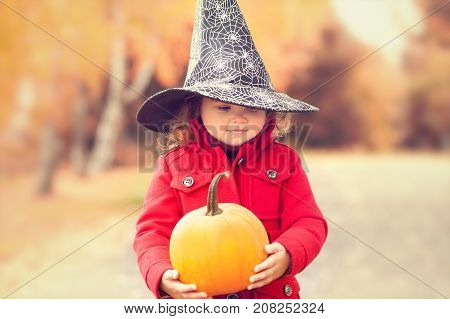 Little girl wearing Halloween witch hat and warm red coat having fun in the park at autumn day. Little orange pumpkin happy child. Toning toned photo