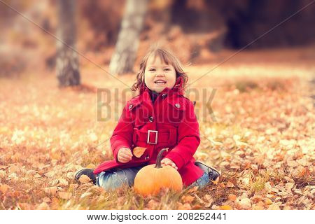 Little girl wearing warm red coat having fun in the park at autumn day. Little orange pumpkin happy child. Toning toned photo.