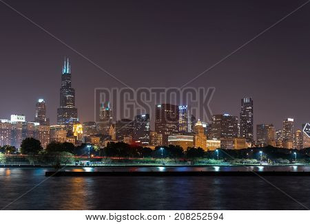 Lights Of Summer Night Chicago Downtown Skyline