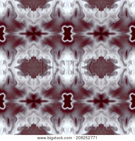 Seamless symmetric pattern, abstract fantastic background in gray and bordo hues. Square template for creative decoration