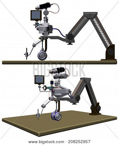 Futuristic Drawing Robot Table Illustration Isolated On White Vector