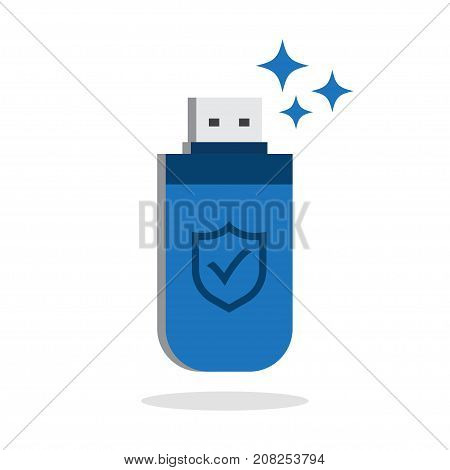 Usb flash drive with shield icon isolated on white background. Data Protection Vector Illustration