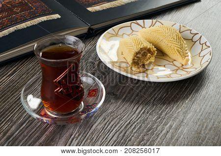 Homemade Shekerbura With Nuts And Honey Syrup