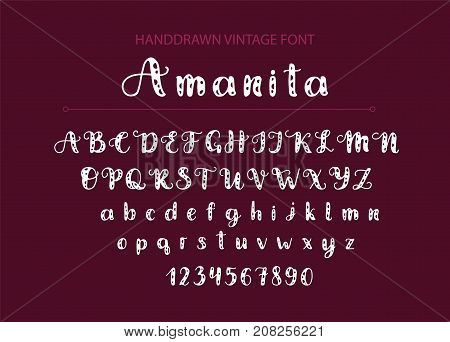 Amanita. Handdrawn Vector font.  Display cute styled calligraphy typeface.