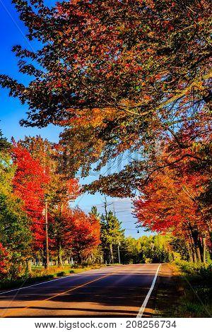 Maritime road, New Brunswick, Canada during Autumn 2017