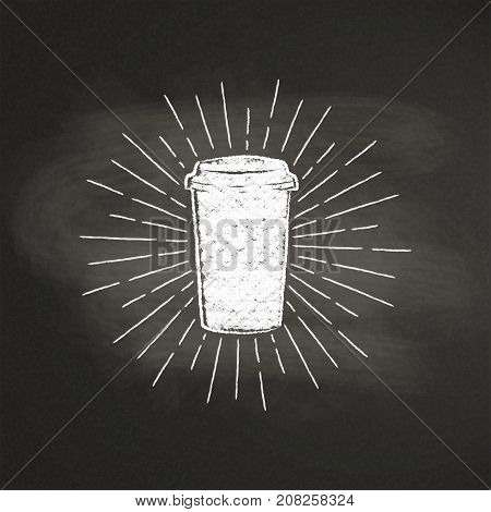 Chalk textured paper coffee cup silhouette with vintage sun rays on black board. Vector coffee-to-go mug illustration for drink and beverage menu or cafe theme, poster, t-shirt print, logo.