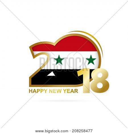 Year 2018 With Syria Flag Pattern. Happy New Year Design.