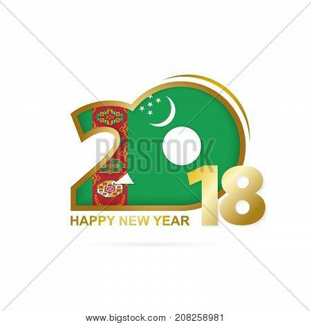 Year 2018 With Turkmenistan Flag Pattern. Happy New Year Design.