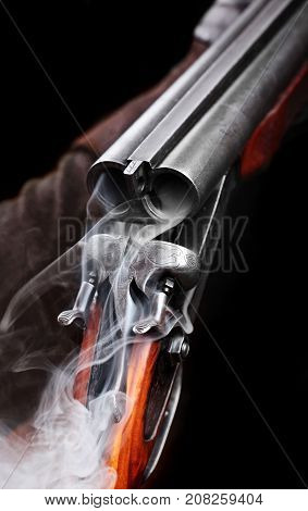Smoke From A Hunting Double Barrel Vintage Shotgun After Firing.comcept Hunting.closeup