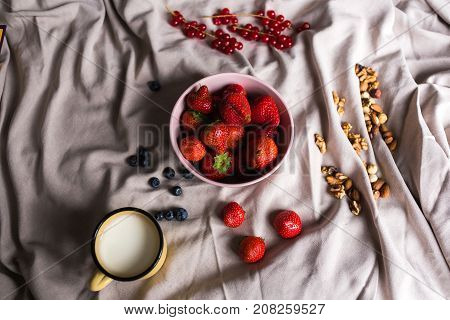 A juicy red strawberry in a pink porcelain plate is on a draped fabric surrounded by blueberries, red currants, nuts and a vintage cup filled with milk. Perfect shot