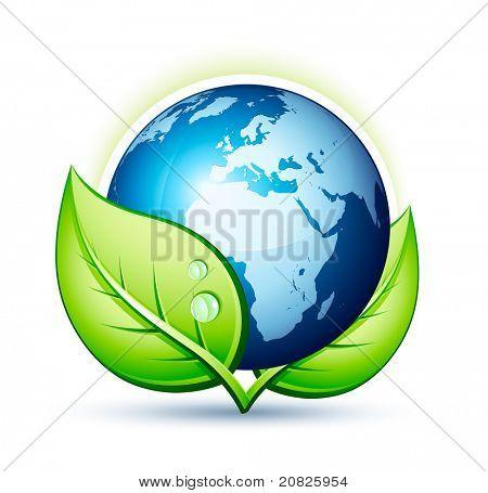Erde und Blatt-Symbol