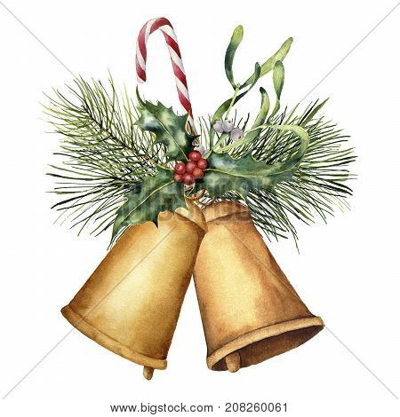 Watercolor Christmas bells with holiday decor. Hand painted Christmas card with holly, mistletoe, fir branch and candy cane isolated on white background. Christmas clip art for design or print