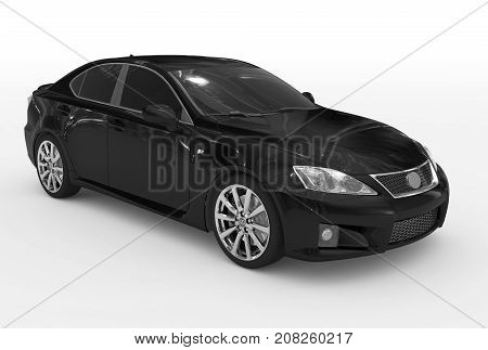 Car Isolated On White - Black Paint, Tinted Glass - Front-right Side View
