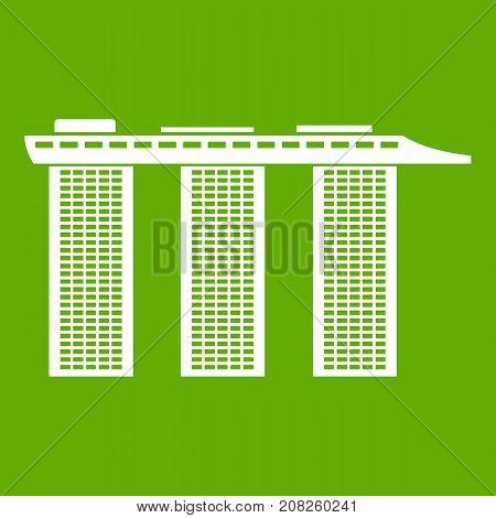 Marina Bay Sands Hotel, Singapore icon white isolated on green background. Vector illustration