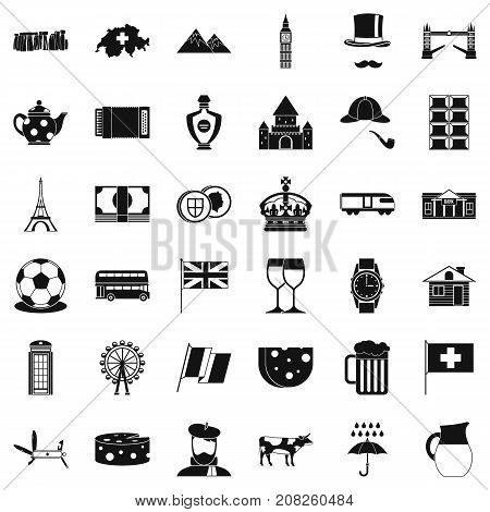 Europe country icons set. Simple style of 36 europe country vector icons for web isolated on white background
