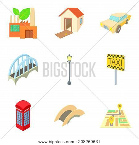 European town icons set. Cartoon set of 9 european town vector icons for web isolated on white background